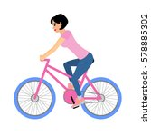 woman cyclist rides a bicycle....   Shutterstock .eps vector #578885302
