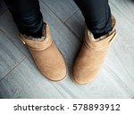 girl in brown ugg boots in... | Shutterstock . vector #578893912