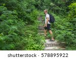 tourist looking forward on... | Shutterstock . vector #578895922