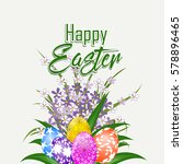 happy easter card with eggs ... | Shutterstock .eps vector #578896465