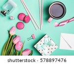 pink woman's accessories on... | Shutterstock . vector #578897476