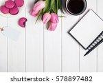 pink tulips  macarons  empty... | Shutterstock . vector #578897482