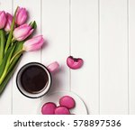 coffee  pink tulips and... | Shutterstock . vector #578897536