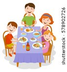 fun cartoon family in colorful... | Shutterstock .eps vector #578902726