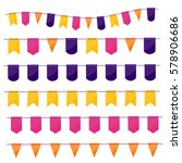 party flags garlands set on... | Shutterstock .eps vector #578906686