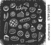 hand drawn bakery  food doodles ... | Shutterstock .eps vector #578910898