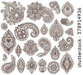 big vector set of henna floral...