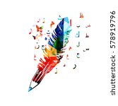 colorful pencil and feather.... | Shutterstock .eps vector #578919796