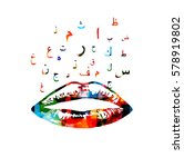 colorful lips with arabic... | Shutterstock .eps vector #578919802