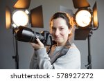girl with a camera in the... | Shutterstock . vector #578927272