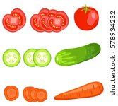 vegetables  tomato  cucumber ... | Shutterstock .eps vector #578934232
