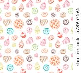 seamless pattern with hand... | Shutterstock .eps vector #578952565