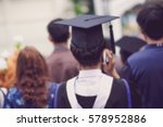 blurred back of graduates... | Shutterstock . vector #578952886