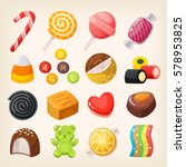 set of top popular sweet... | Shutterstock .eps vector #578953825