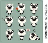 set of funny little panda bear...   Shutterstock .eps vector #578961316