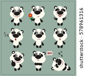 funny little panda bear set in... | Shutterstock .eps vector #578961316