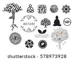 meditation with nature icon set ... | Shutterstock .eps vector #578973928