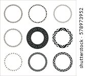 set of hand drawn ethnic circle ... | Shutterstock .eps vector #578973952