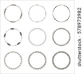 set of hand drawn ethnic circle ... | Shutterstock .eps vector #578973982