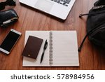 notebook and travel accessories ... | Shutterstock . vector #578984956