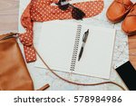 notebook and travel accessories ... | Shutterstock . vector #578984986