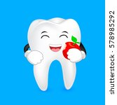cute cartoon tooth character... | Shutterstock .eps vector #578985292