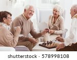 aged people playing chess... | Shutterstock . vector #578998108