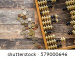 money with old abacus on the... | Shutterstock . vector #579000646