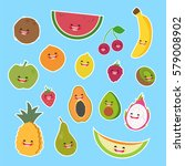 cartoon fruits cute characters... | Shutterstock .eps vector #579008902