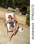 stylish getaway. full length... | Shutterstock . vector #579015172