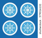 rudder icons in blue circles.... | Shutterstock .eps vector #579016132