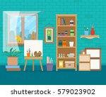 art studio interior. creative... | Shutterstock .eps vector #579023902