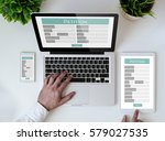office tabletop with tablet ... | Shutterstock . vector #579027535