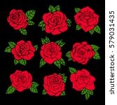 flowers roses  red buds and...   Shutterstock .eps vector #579031435