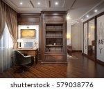 home office interior design in... | Shutterstock . vector #579038776