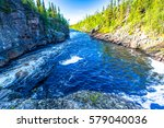 mountain forest river panorama | Shutterstock . vector #579040036