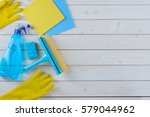 spray  a window cleaning brush  ... | Shutterstock . vector #579044962
