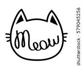 black cat contour head. meow... | Shutterstock .eps vector #579045256