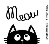 black cat looking up to meow... | Shutterstock .eps vector #579045802
