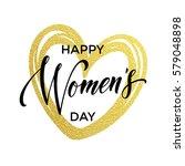 Women Day Gold Glitter Heart...