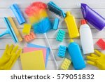 trash bags  a duster  cellulose ... | Shutterstock . vector #579051832