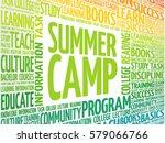 summer camp word cloud ... | Shutterstock . vector #579066766