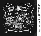 vintage motorcycle hand drawn... | Shutterstock .eps vector #579074245