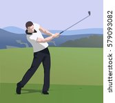golfer wearing white shirt and... | Shutterstock .eps vector #579093082
