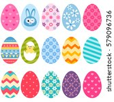 colorful easter eggs icons   Shutterstock .eps vector #579096736
