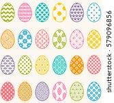 set of colorful eggs for easter   Shutterstock .eps vector #579096856