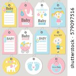 gift tags and cards baby shower.... | Shutterstock .eps vector #579097516
