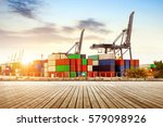 large container terminal  crane ... | Shutterstock . vector #579098926
