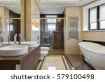 big and stylish bathroom in... | Shutterstock . vector #579100498