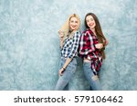 portrait of two female friends... | Shutterstock . vector #579106462